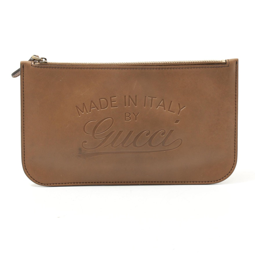 """Gucci """"Made In Italy By Gucci"""" Embossed Leather Zip Pouch"""