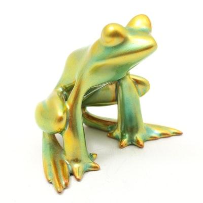 Zsolnay Hungary Iridescent Eosin Glazed Porcelain Frog Figurine