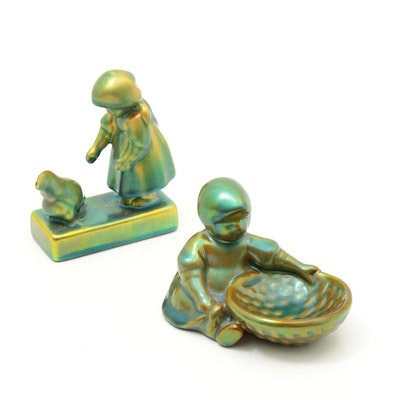 Zsolnay Hungary Iridescent Eosin Glazed Porcelain Figurines