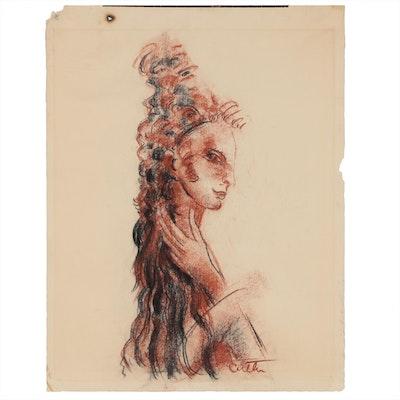 "Charles Cutler Conté Crayon Drawing ""Head"", 1966"