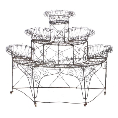 Tiered Wire Plant Stand, Early 20th Century