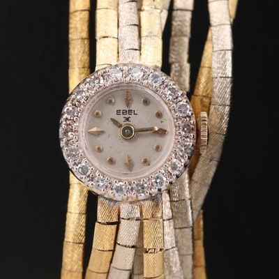 Vintage Ebel 14K White and Yellow Gold Wristwatch with Diamond Bezel