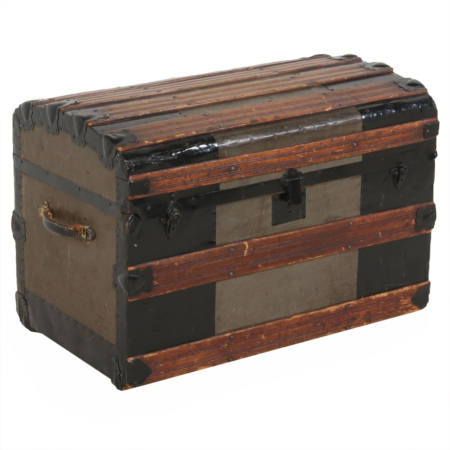 Late Victorian Metal-Bound Wooden Steamer Trunk, Late 19th/Early 20th Century