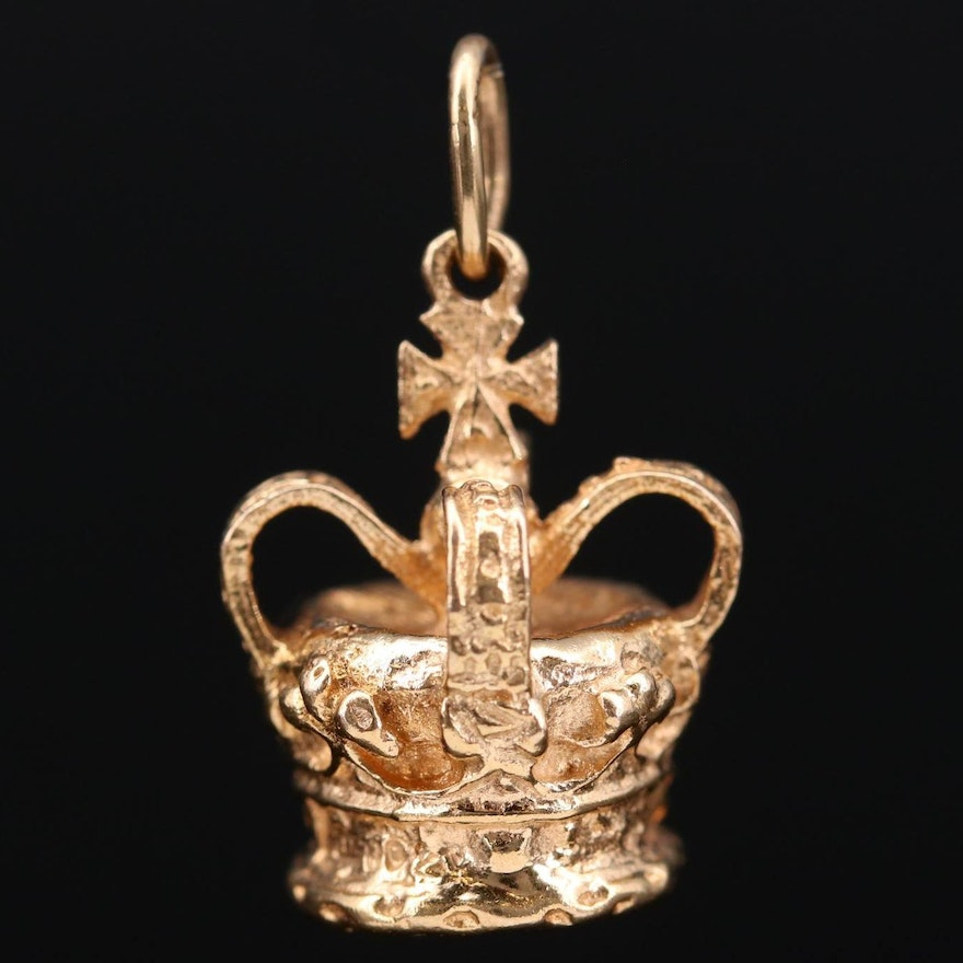 9K Yellow Gold Crown Charm