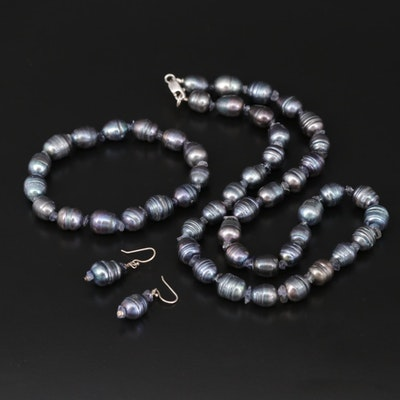 Sterling Silver Cultured Pearl Necklace, Bracelet and Earrings