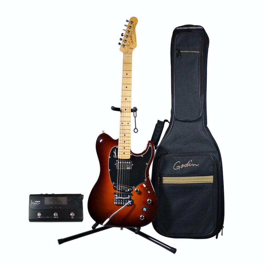 Godin Session Custom Tripleplay Electric Guitar, Gig Case and On-Stage Stand