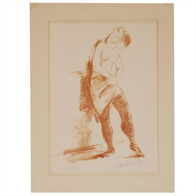 "Jan de Ruth Lithograph ""Nude with Stockings"""