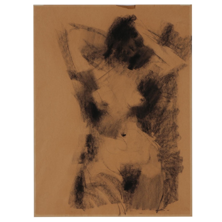 Abstract Figural Charcoal Drawing, 1966