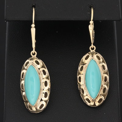 10K Yellow Gold Imitation Turquoise Earrings