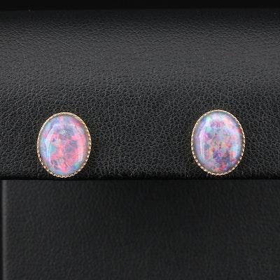 10K and 9K Yellow Gold Opal Triplet Earrings