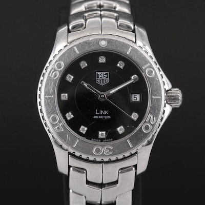 TAG Heuer Link Diamond Dial and Stainless Steel Wristwatch, 2005