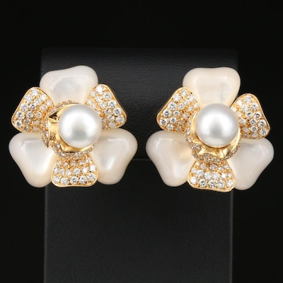 18K Yellow Gold Pearl, 5.08 CTW Diamond and Mother of Pearl Flower Earrings