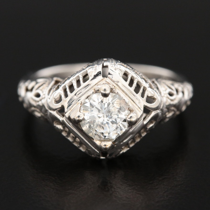 Edwardian 18K White Gold Diamond Lattice Ring