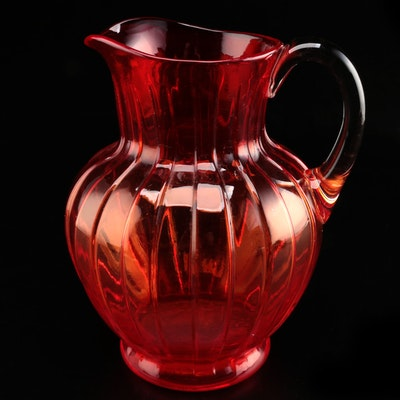 """Torquay"" Pigeon Blood Red Pitcher with Clear Handle"