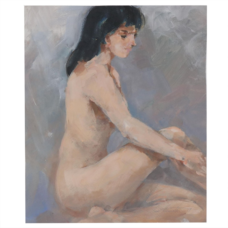 Louis Herbert Hemsath Figural Oil Painting of Female Nude, 1944