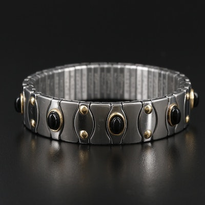 Zoppini Black Onyx Expandable Bracelet with Yellow Gold Accents