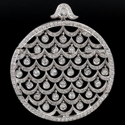 14K 2.00 CTW Diamond Scalloped Motif Converter Brooch