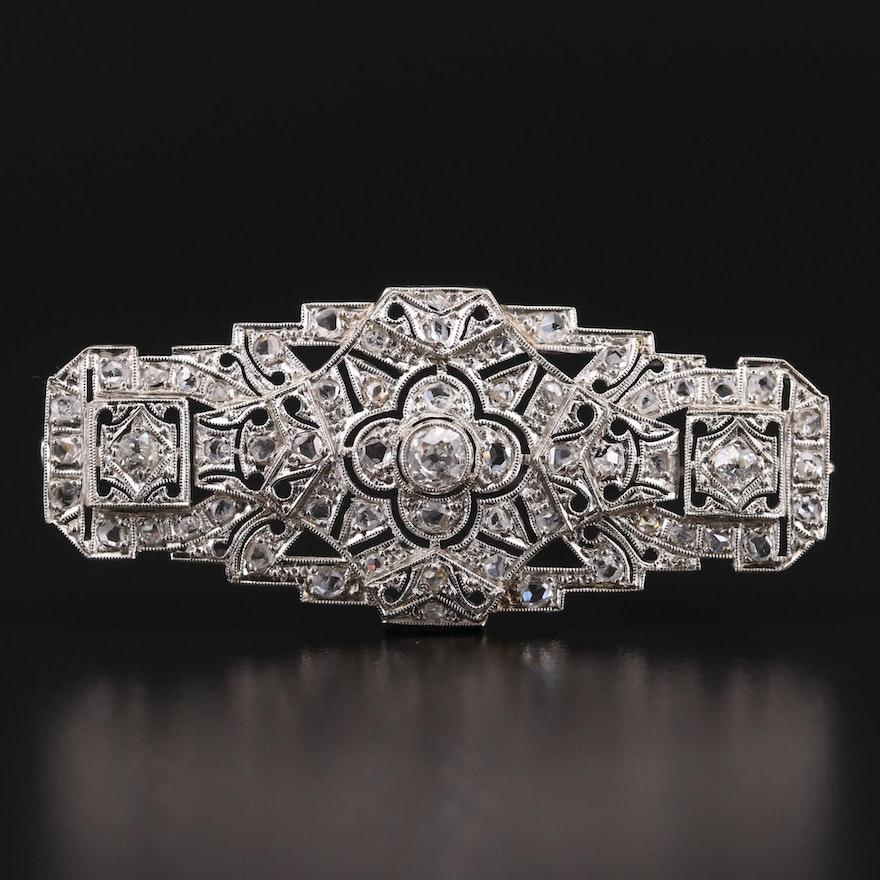 Edwardian Platinum 1.32 CTW Diamond Openwork Brooch