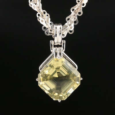 Sterling 35.07 CT Citrine Enhancer Pendant on Fancy Link Chain Necklace