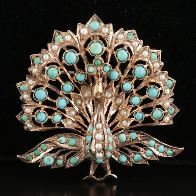 Vintage 14K Yellow Gold Turquoise, Seed Pearl and Ruby Peacock Converter Brooch