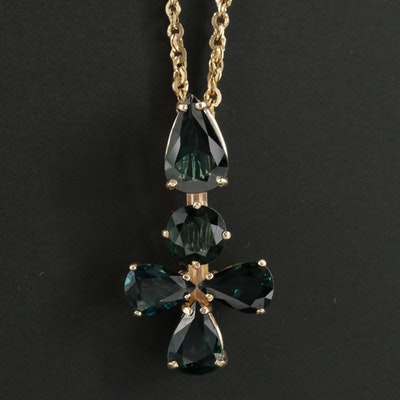 14K Yellow Gold Sapphire Pendant Necklace