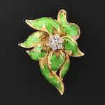 1960s 18K Yellow Gold Diamond and Green Enamel Flower Brooch