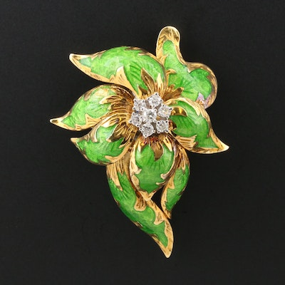 1960s 18K Yellow Gold Diamond and Green Enamel Flower Brooch
