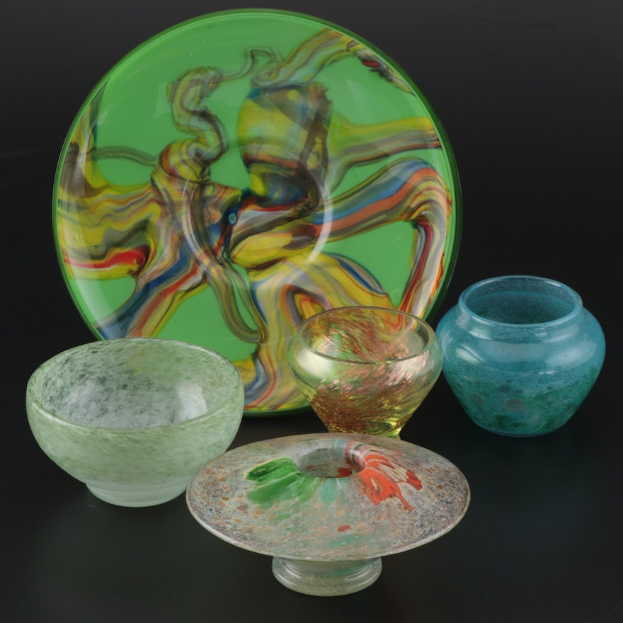 Scottish Art Glass Vases and Decorative Plate Including Monart, 20th Century