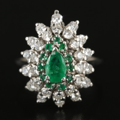 14K White Gold Emerald and 1.00 CTW Diamond Ring