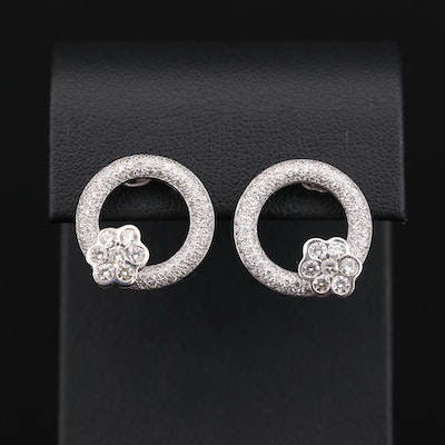 18K White Gold 1.46 CTW Diamond Earrings with 14K Gold Floral Accent