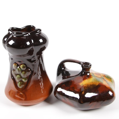 Weller and J. B. Owens Pottery Decorative Vases, Late 19th/Early 20th Century