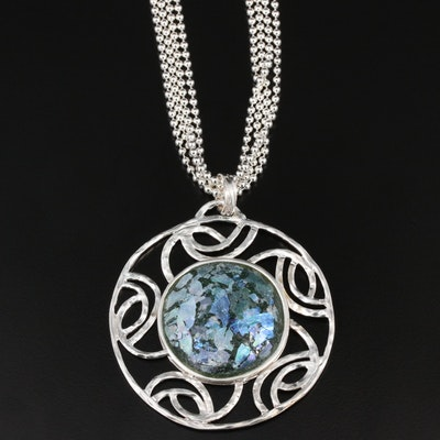 Sterling Silver Roman Glass Pendant With Milor Multi-Strand Chain
