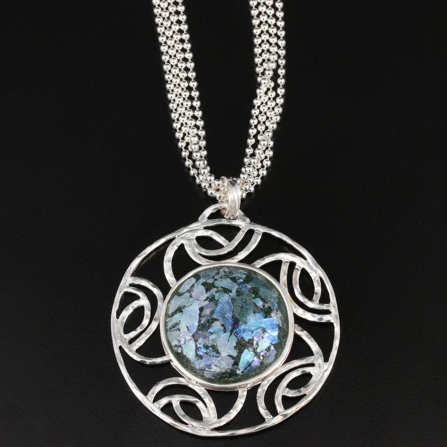 Sterling Silver Roman Glass Pendant With Milor Multi-Strand Chain