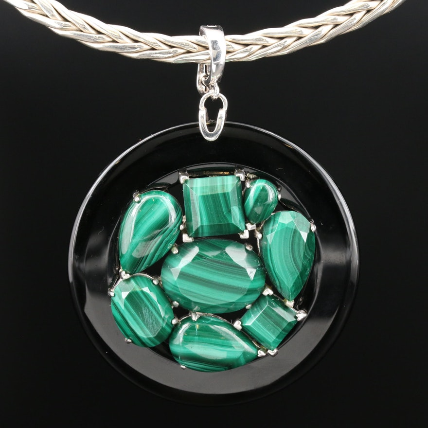 Sterling Braided Collar Necklace with Malachite and Black Onyx Enhancer Pendant