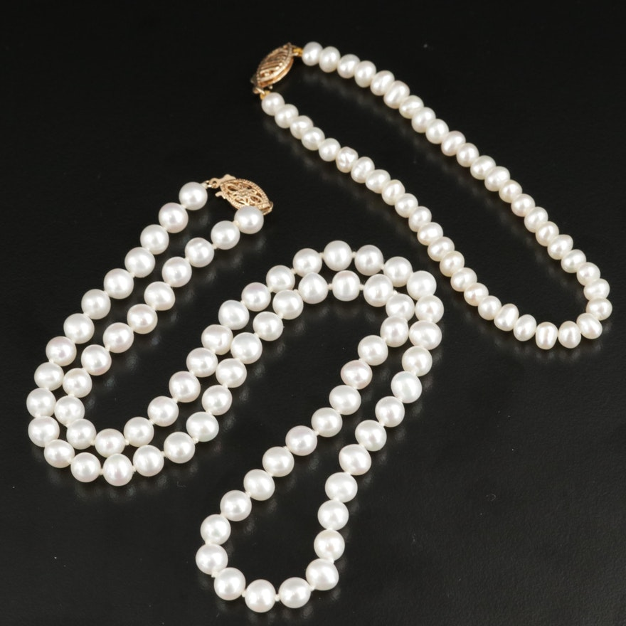 Pearl Necklace with 10K Clasp and Pearl Bracelet with 14K Clasp