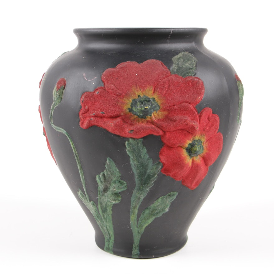American Satin Glass Poppy Vase with Coralene Decoration, Early 20th Century