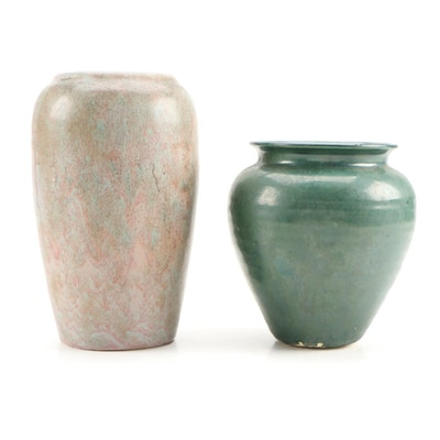 Green and Pink Glazed Earthenware Art Pottery Vases