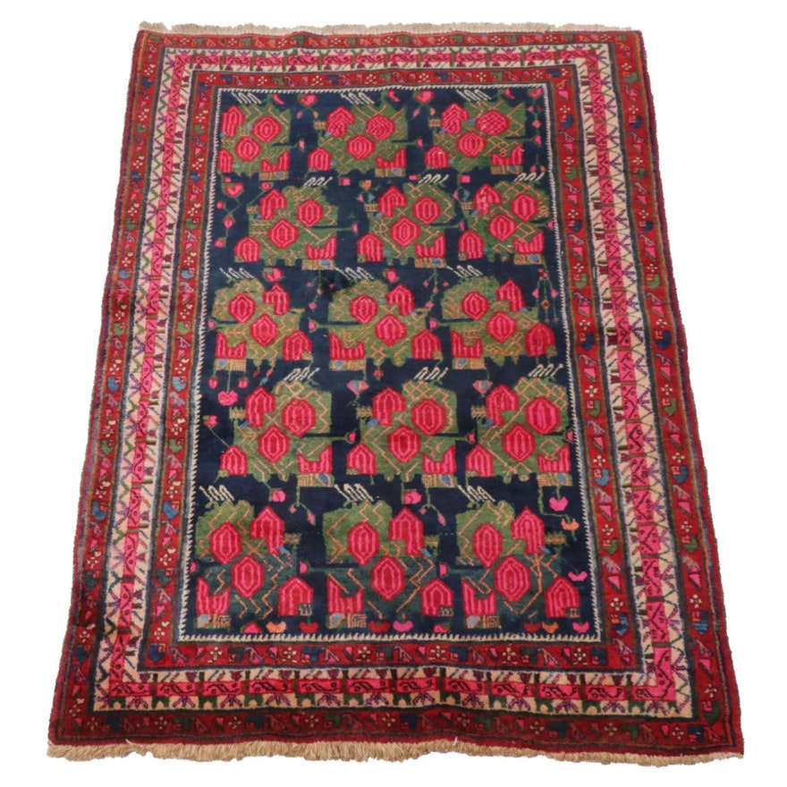 4'3 x 6'6 Hand-Knotted Persian Afshar Rug, 1970s