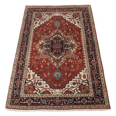 5' x 8' Hand-Knotted Indo-Persian Heriz Serapi Rug, 2010s