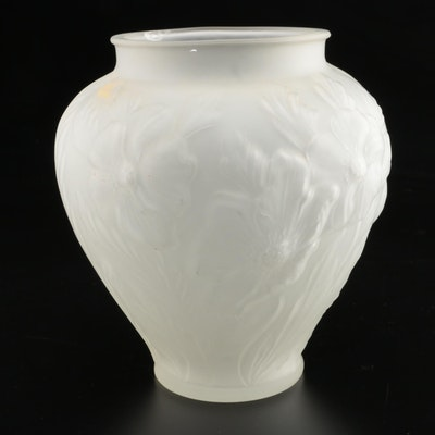 American Pressed Satin Glass Floral Vase, Early 20th Century