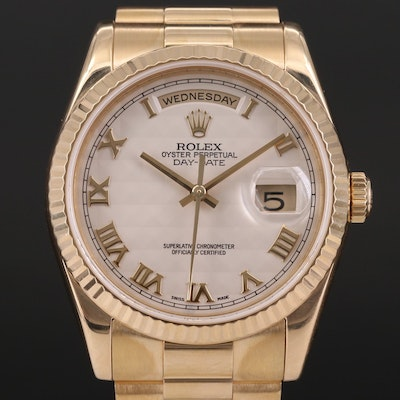 Rolex Day - Date 18K Gold Wristwatch with Ivory Pyramid Dial, 2004