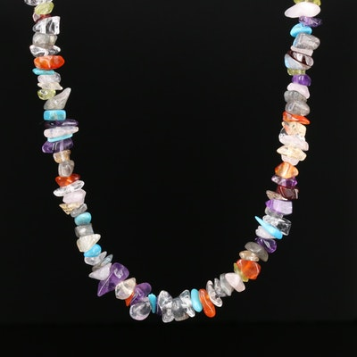 Multi-Gemstone Chip Necklace Including Amethyst and Rose Quartz