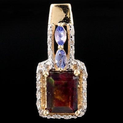 10K Yellow Gold Opal, Tanzanite, and Diamond Pendant