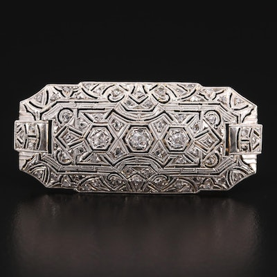 Art Deco 18K Yellow Gold Diamond Brooch with Platinum Accent