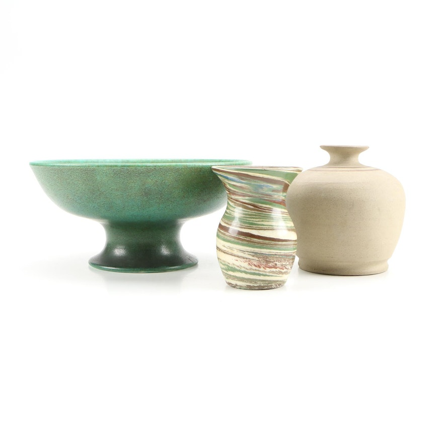 Art Pottery Décor Including Royal Lancastrian Footed Bowl