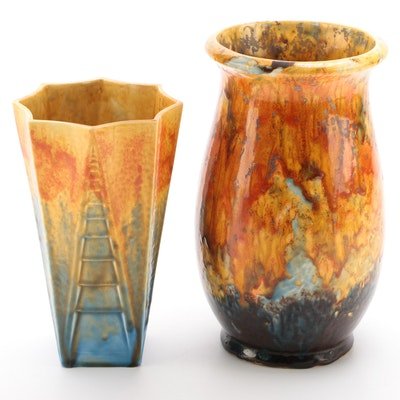 Crown Ducal Drip Glaze Vases, Early to  Mid-20th Century