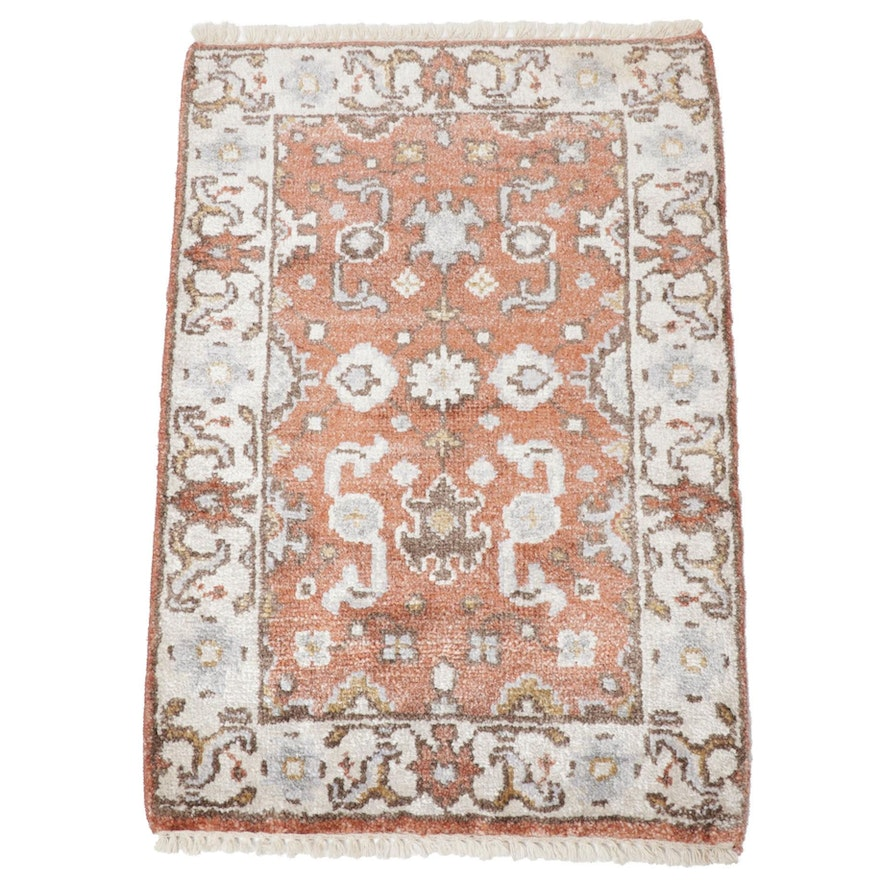 2'1 x 3'2 Hand-Knotted Indo-Persian Mahal Artificial Silk Rug, 2010s