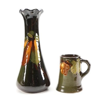"J.B. Owens Pottery ""Utopia"" Brown Glaze Art Pottery Vase and Mug, Antique"