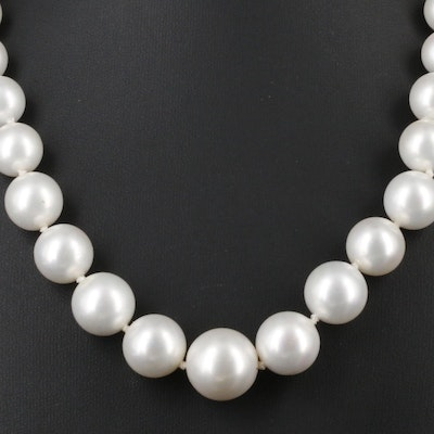 Graduated Imitation Pearl Strand Necklace With 14K Yellow Gold Clasp