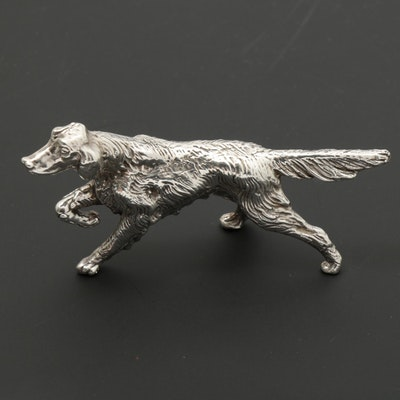 Sterling Silver Pointing Irish Setter Figurine
